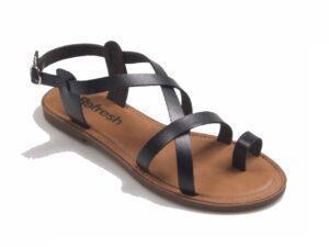 Sandalia romana tiras dedo negra