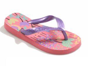 Chancla flip-flop flores lila