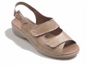 Sandalia confort beig de piel